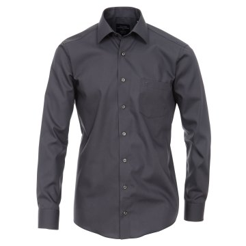Größe 42 Casamoda Hemd Anthrazit Uni Langarm Modern Fit Leicht Tailliert Kentkragen 100% Baumwolle Bügelfrei