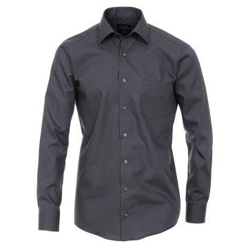 Größe 44 Casamoda Hemd Anthrazit Uni Langarm Modern Fit Leicht Tailliert Kentkragen 100% Baumwolle Bügelfrei