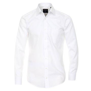 Größe 40 Casamoda Hemd Weiss Uni Langarm Modern Fit Leicht Tailliert Kentkragen 100% Baumwolle Bügelfrei