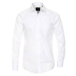 Größe 42 Casamoda Hemd Weiss Uni Langarm Modern Fit Leicht Tailliert Kentkragen 100% Baumwolle Bügelfrei
