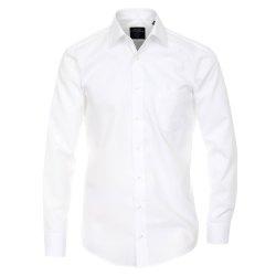 Größe 43 Casamoda Hemd Weiss Uni Langarm Modern Fit Leicht Tailliert Kentkragen 100% Baumwolle Bügelfrei