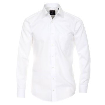 Größe 44 Casamoda Hemd Weiss Uni Langarm Modern Fit Leicht Tailliert Kentkragen 100% Baumwolle Bügelfrei