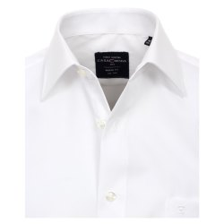 Größe 45 Casamoda Hemd Weiss Uni Langarm Modern Fit Leicht Tailliert Kentkragen 100% Baumwolle Bügelfrei