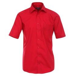 Größe 40 Casamoda Hemd Rot Uni Kurzarm Comfort Fit Normal Geschnitten Kentkragen 100% Baumwolle Bügelfrei
