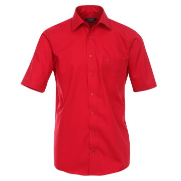 Größe 42 Casamoda Hemd Rot Uni Kurzarm Comfort Fit Normal Geschnitten Kentkragen 100% Baumwolle Bügelfrei
