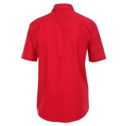 Größe 45 Casamoda Hemd Rot Uni Kurzarm Comfort Fit Normal Geschnitten Kentkragen 100% Baumwolle Bügelfrei