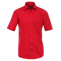 Größe 48 Casamoda Hemd Rot Uni Kurzarm Comfort Fit Normal Geschnitten Kentkragen 100% Baumwolle Bügelfrei