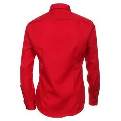 Größe 35 Venti Hemd Rot Uni Langarm Slim Fit Tailliert Kentkragen 100% Baumwolle Popeline Bügelfrei