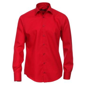 Größe 38 Venti Hemd Rot Uni Langarm Slim Fit Tailliert Kentkragen 100% Baumwolle Popeline Bügelfrei