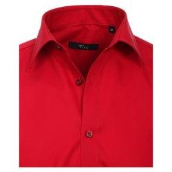 Größe 40 Venti Hemd Rot Uni Langarm Slim Fit Tailliert Kentkragen 100% Baumwolle Popeline Bügelfrei