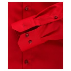 Größe 43 Venti Hemd Rot Uni Langarm Slim Fit Tailliert Kentkragen 100% Baumwolle Popeline Bügelfrei