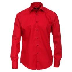 Größe 45 Venti Hemd Rot Uni Langarm Slim Fit Tailliert Kentkragen 100% Baumwolle Popeline Bügelfrei