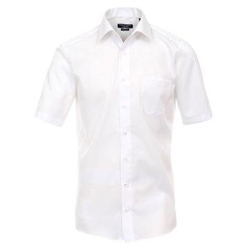 Größe 39 Casamoda Hemd Weiss Uni Kurzarm Modern Fit Leicht Tailliert Kentkragen 100% Baumwolle Bügelfrei