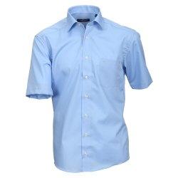 Casamoda Hemd Blau Uni Kurzarm Modern Fit Leicht Tailliert Kentkragen 100% Baumwolle Bügelfrei