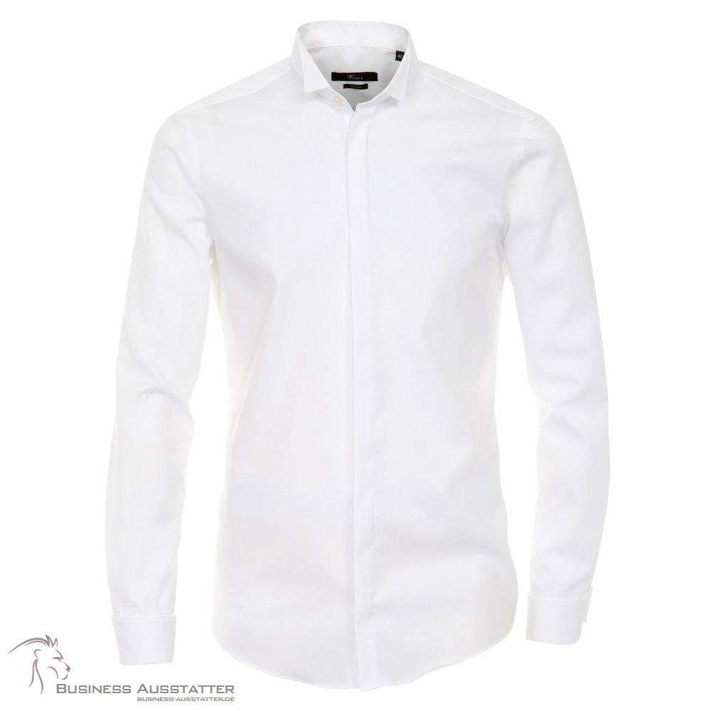 Weisses Umschlagmanschetten Hemd verdeckter Knopfleiste