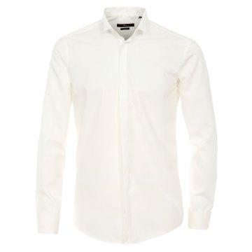 Venti Fest Hemd Creme Uni Langarm Slim Fit Umschlagmanschette Verdeckte  Knopfleiste Kläppchenkragen 100% Baumwolle Bügelfrei bfd7f3a8d1