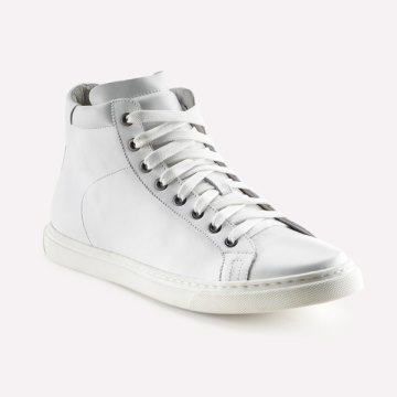 Größe D 44 UK 10 HAMLET VITO all Year Weiss Vitello Bianco knöchelhoher Sneaker aus edlem Kalbsleder Made in Italy